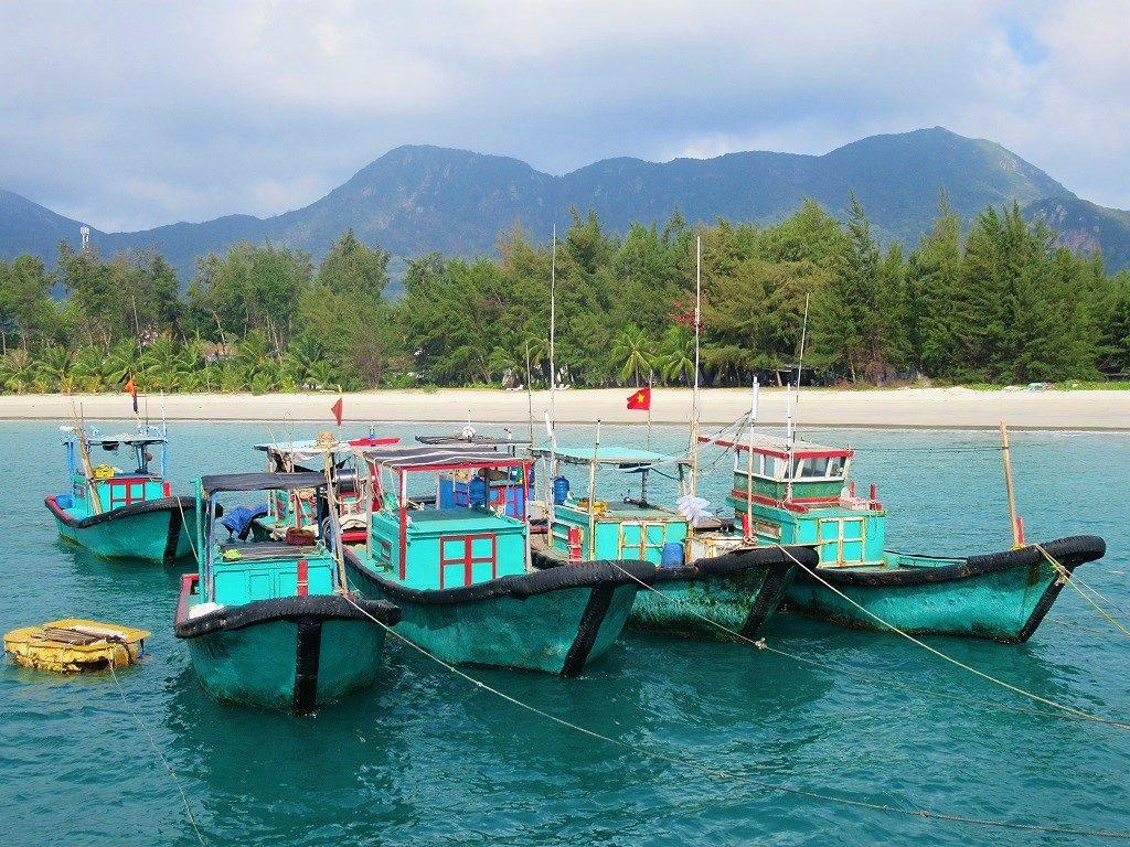 Fishing boats in Con Son Bay, Con Dao, Vietnam