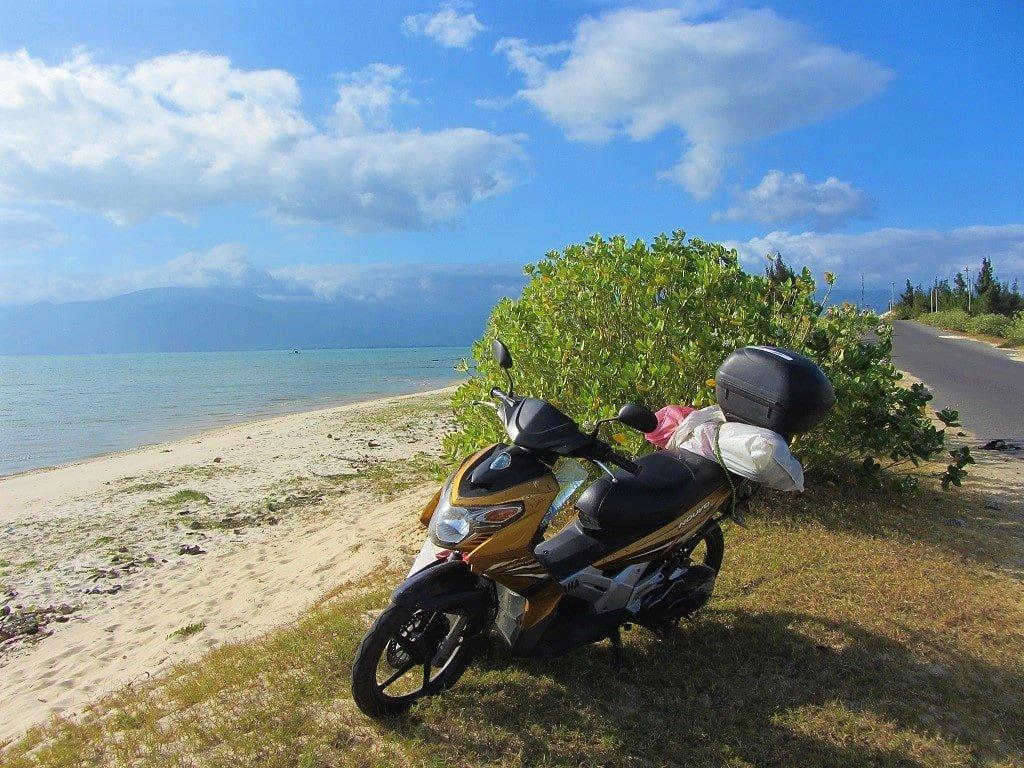 My motorbike, Stavros, on Hon Gom Sandbar, Vietnam