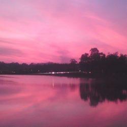 View of Hồ Xuân Hương Lake, Dalat, at dusk
