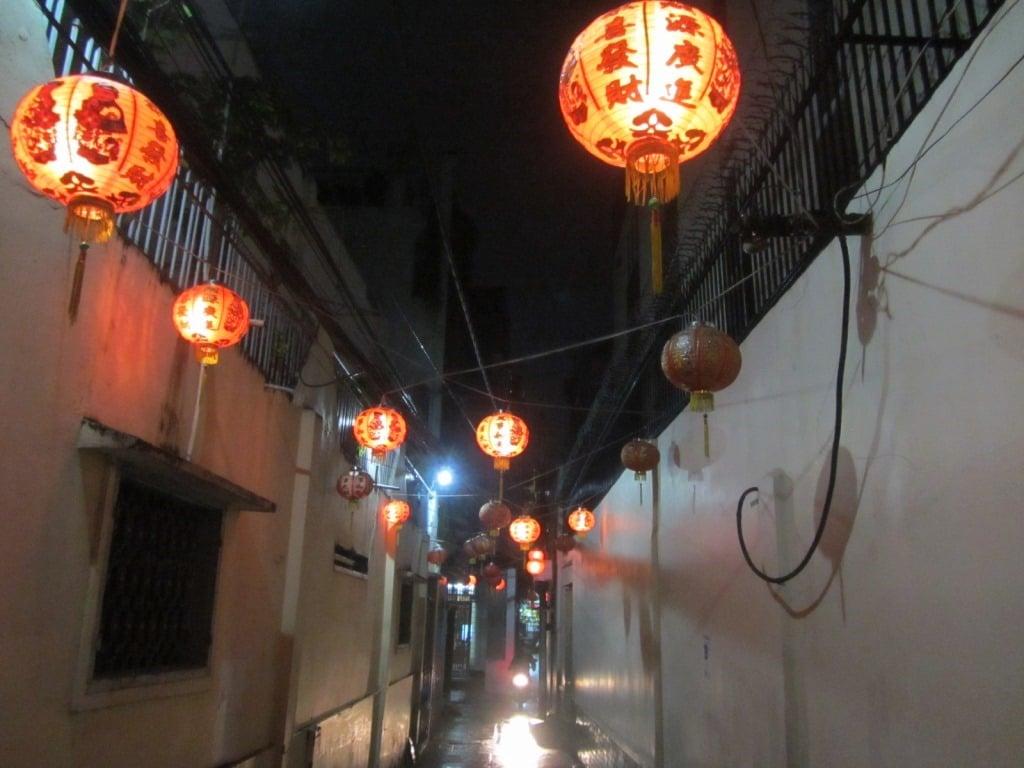Hanging lanterns in Saigon alleyways, Vietnam