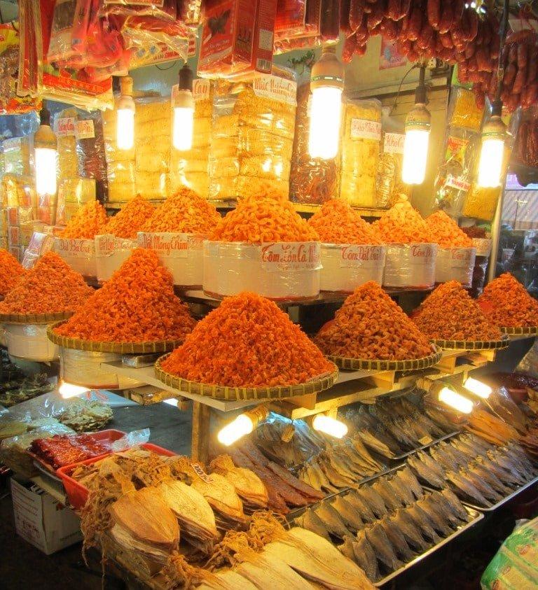 Dried shrimp & fish under light bulbs