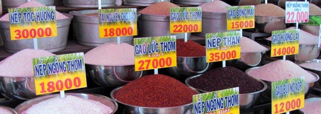 Types of rice at Ba Chieu Market
