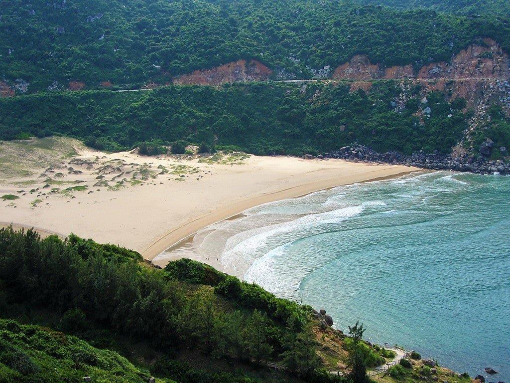 View of Bai Mon Beach from Mui Dien Lighthouse, Vietnam