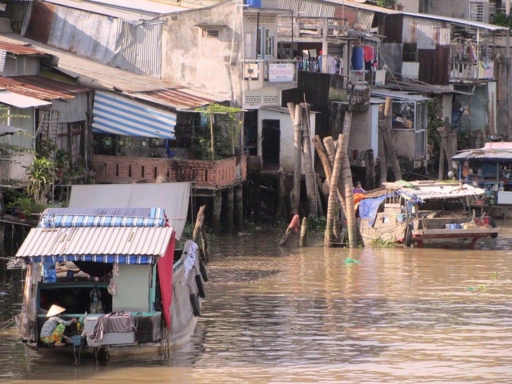 Boats & homes, My Tho, Mekong Delta, Vietnam