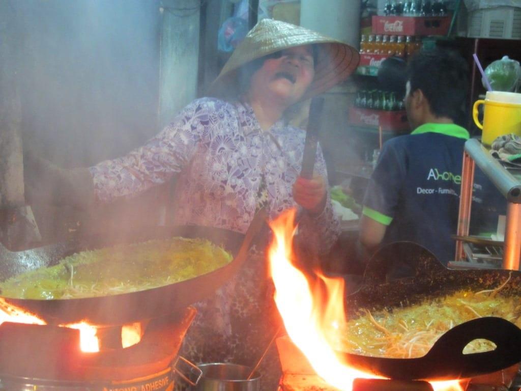 Banh xeo vendor, street food, Saigon