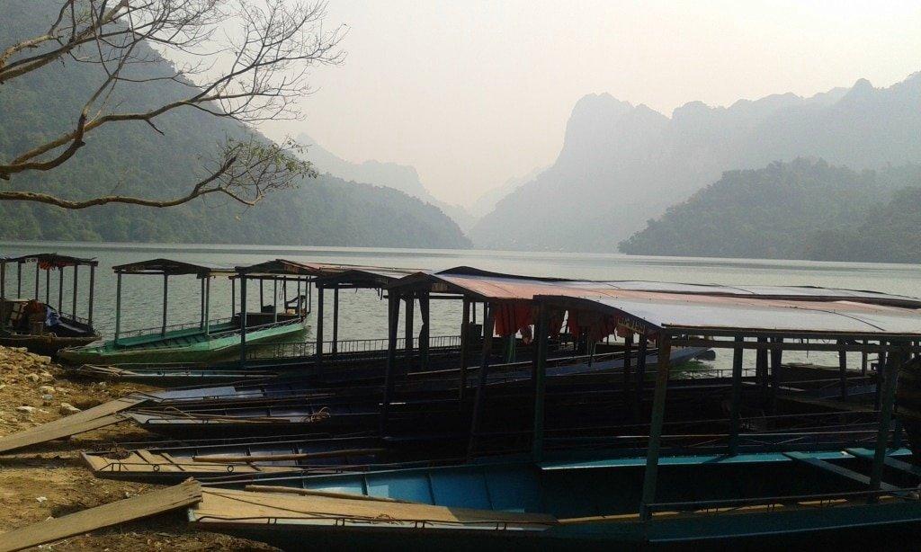 Narrow boats on Ba Be Lake