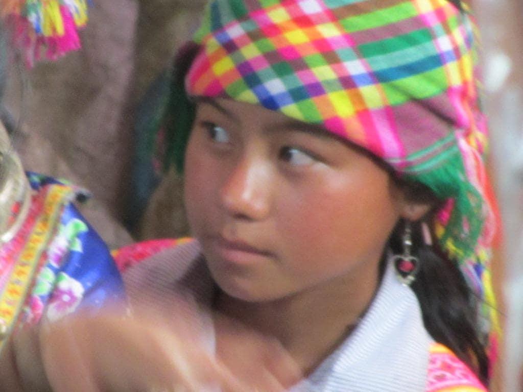 Minority girl in Sin Ho market