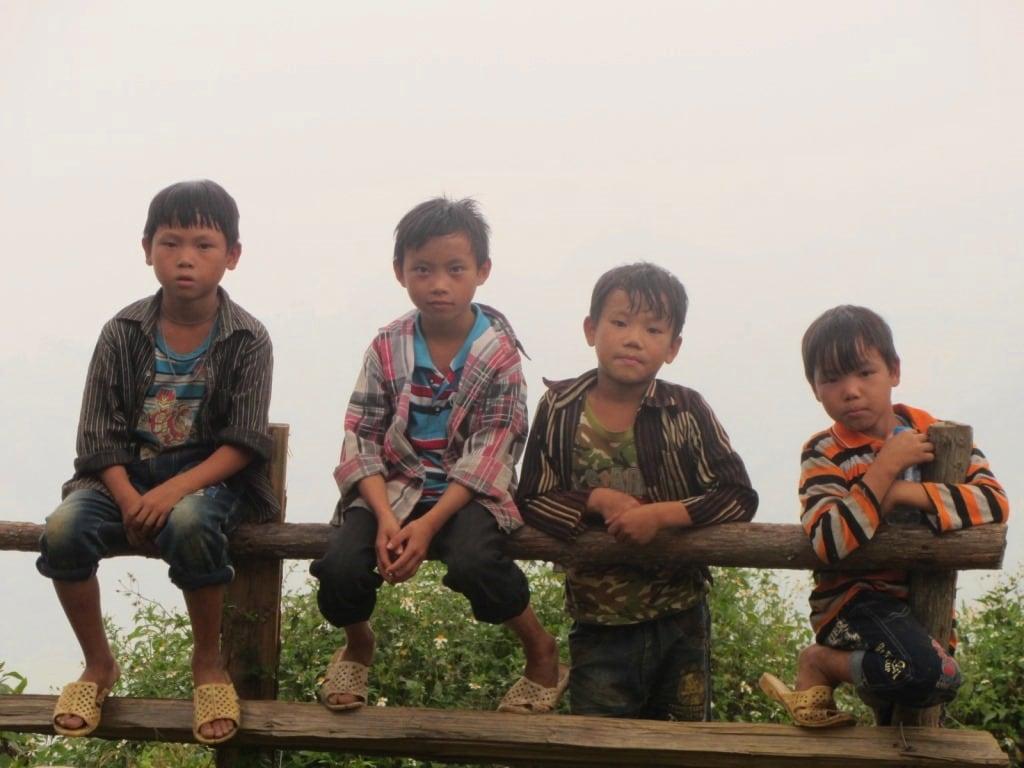Four boys near Bac Ha