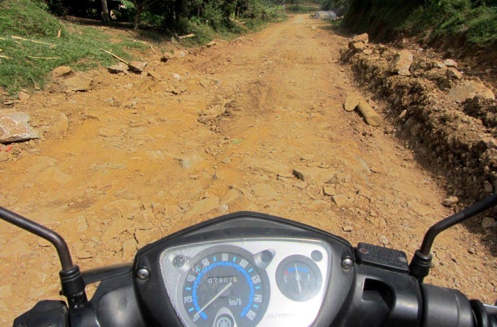 Dirt road conditions, Phong Rang to Xin Man, Vietnam