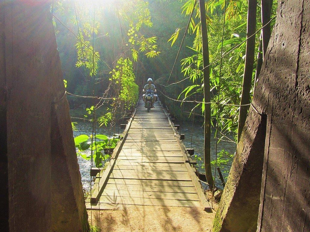 Crossing the bridge to Panhou Village Resort, Ha Giang, Vietnam