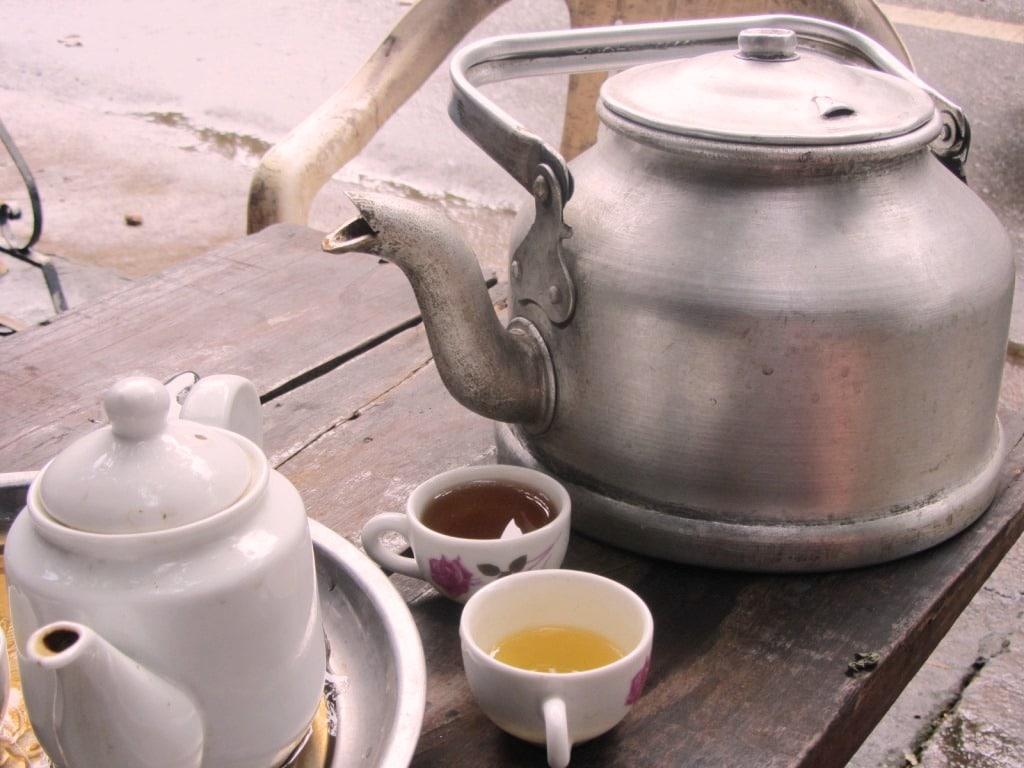Tea pots at the Ha Giang noodle house