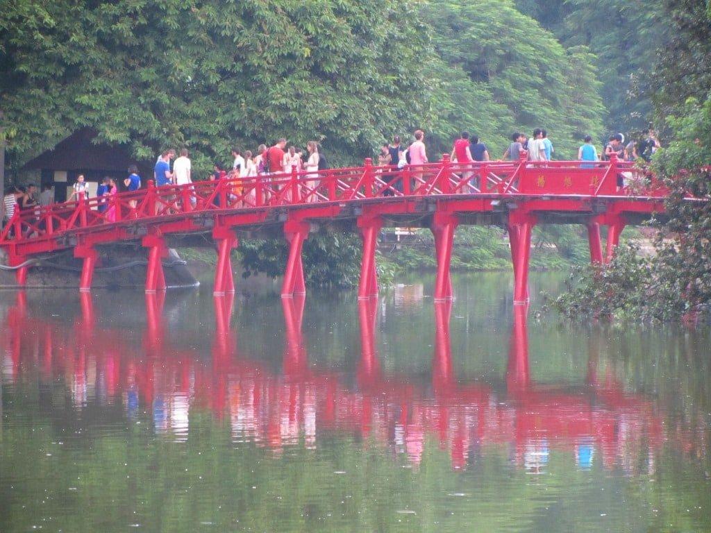 Hanoi's famous red bridge, Hoan Kiem Lake
