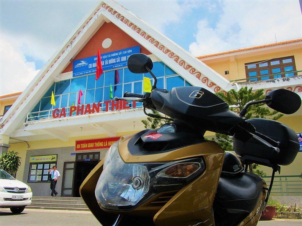 Motorbike on the train, Saigon to Phan Thiet, Vietnam