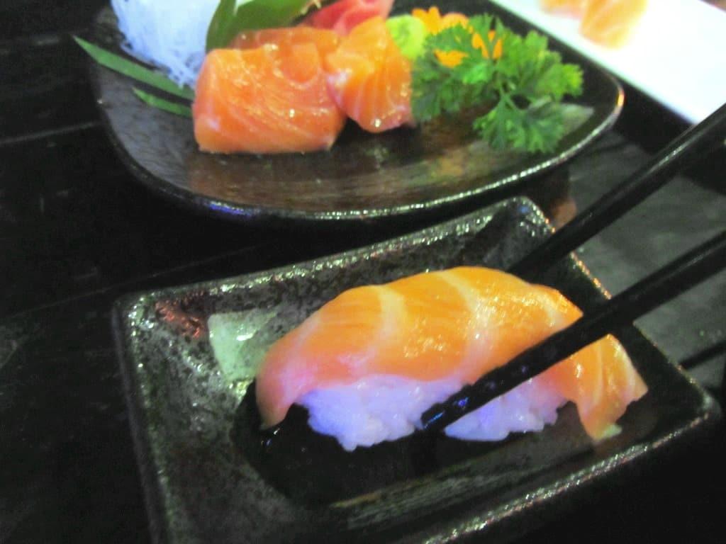Salmon sushi at Miku Sushi, Saigon, Vietnam