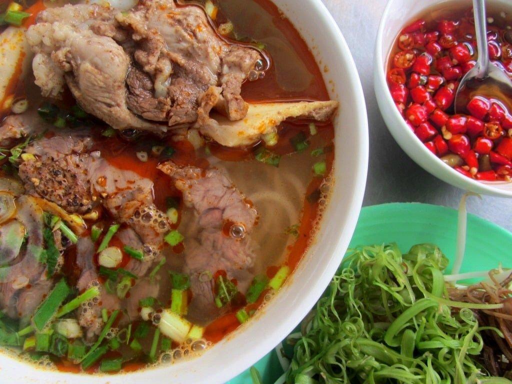 Bún bò Huế, spicy beef noodle soup, Vietnam