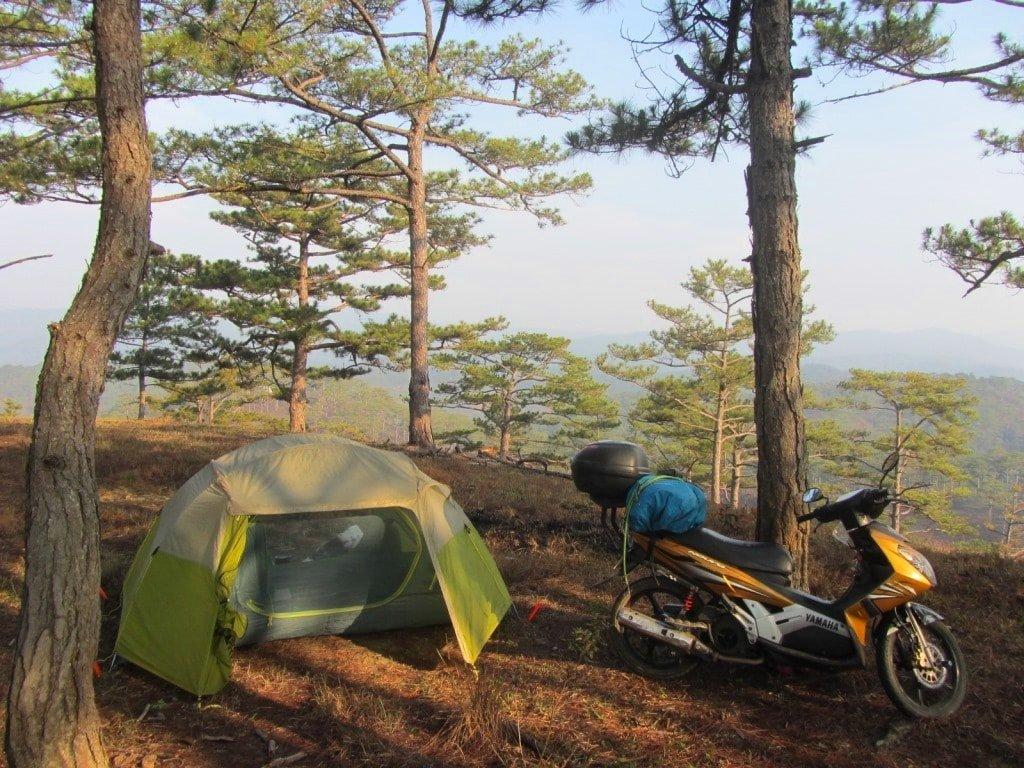 Camping on the Pine Tree Road, Dalat, Vietnam