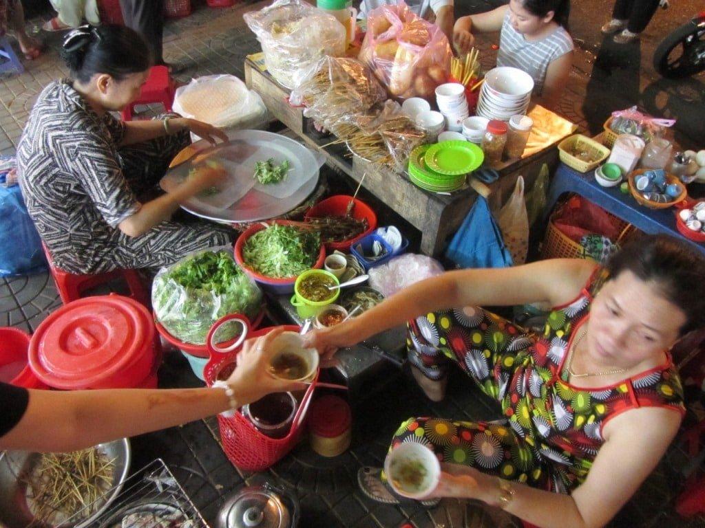 Street food, Kon Tum Market, Ho Chi Minh Road, Vietnam