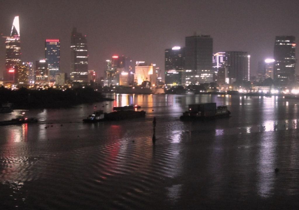 View from Thu Thiem Bridge at night, Saigon, Vietnam