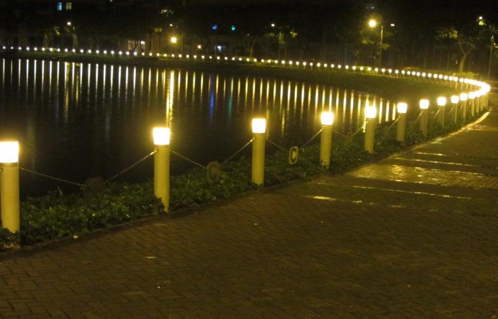 The Crescent Waterfront Promenade at night, District 7, Saigon