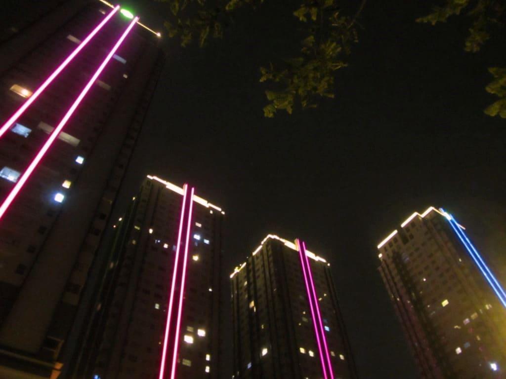 Sunrise City towers at night, District 7, Saigon