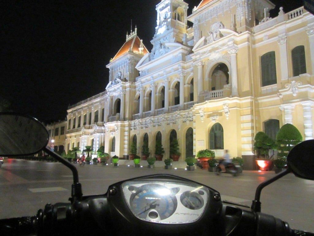 City Hall at night, District 1, Saigon