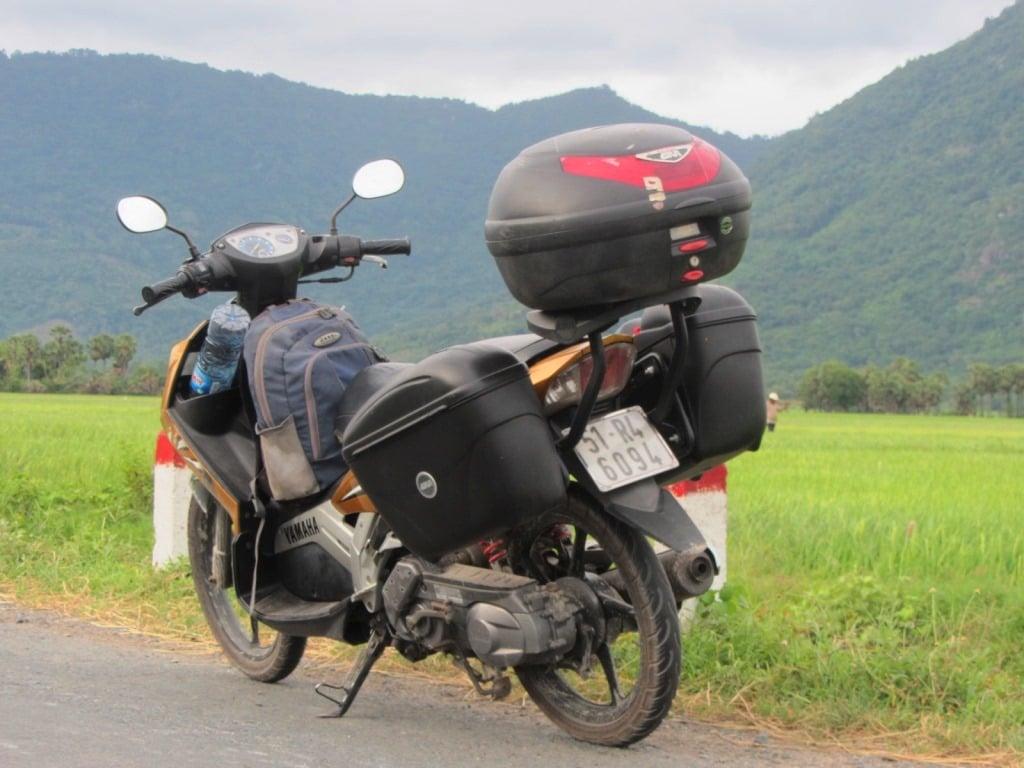 My motorbike, Stavros, in the Mekong Delta, Vietnam Coracle