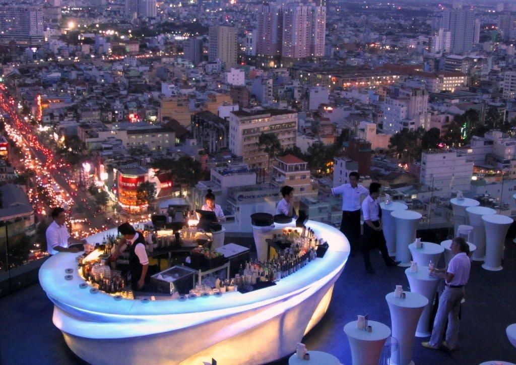 Rooftop bar in Saigon, Vietnam
