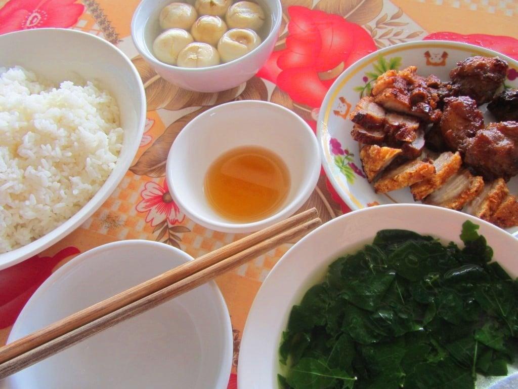 Typical rice lunch, northern Vietnam