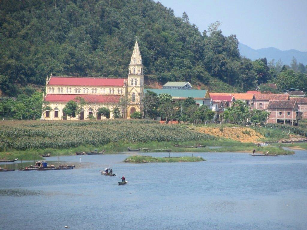 Church spire near Phong Nha, Vietnam