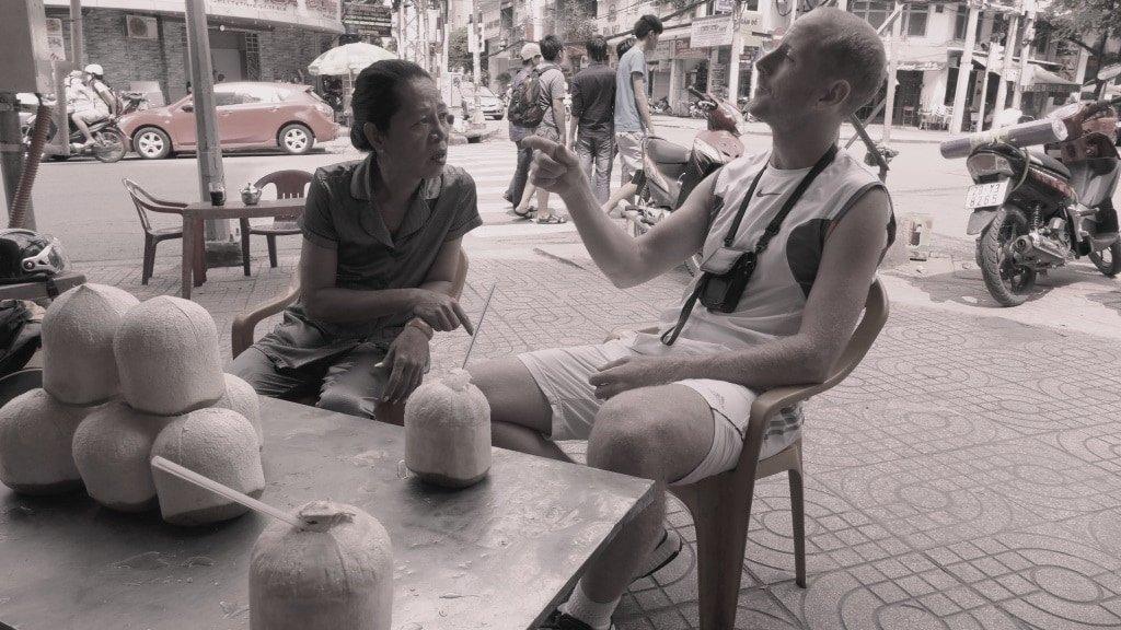 A street-side chat in Saigon, Vietnam