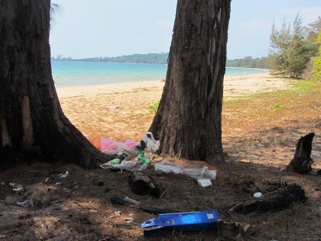 Trash on Vung Bau Beach, Phu Quoc Island, Vietnam