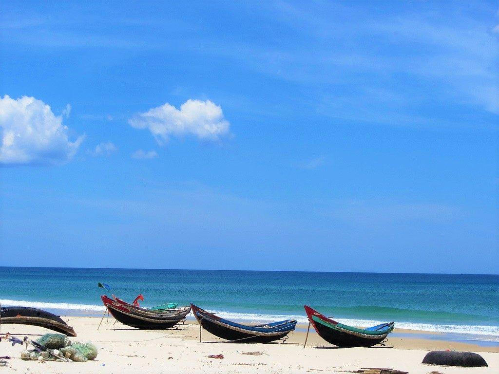 Empty beaches along the coast road near Hue, Vietnam