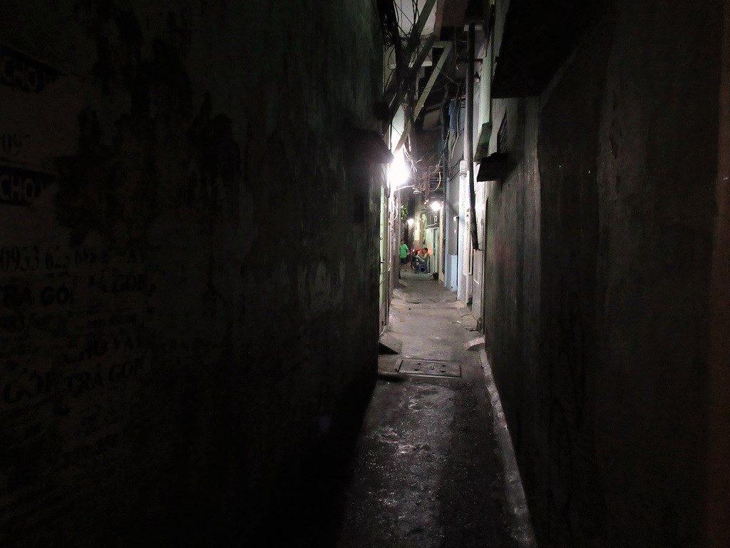 Narrow alleyways near Saigon's railway line, Vietnam