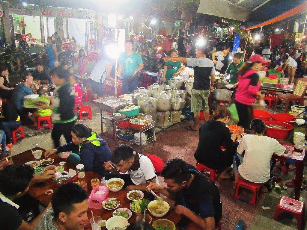 Street food scene in Quy Nhon, Binh Dinh Province, Vietnam