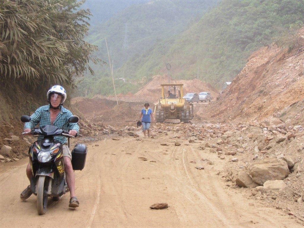 Passing a landslide, Lai Chau Province, northwest Vietnam