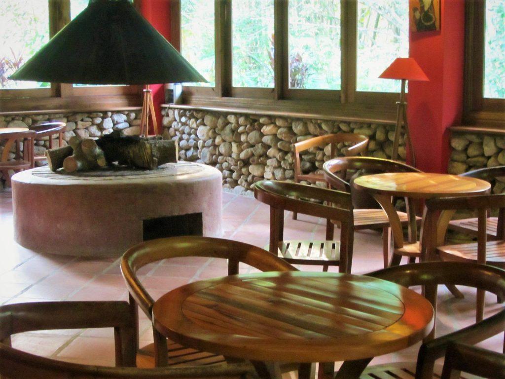 Restaurant & fireplace at Pan Hou Village Ecolodge, Ha Giang, Vietnam