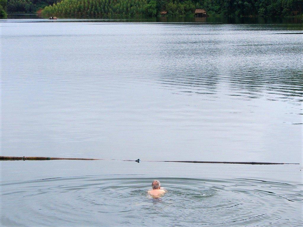 Swimming in Thac Ba Lake, Vu Linh, Yen Bai Province, Vietnam
