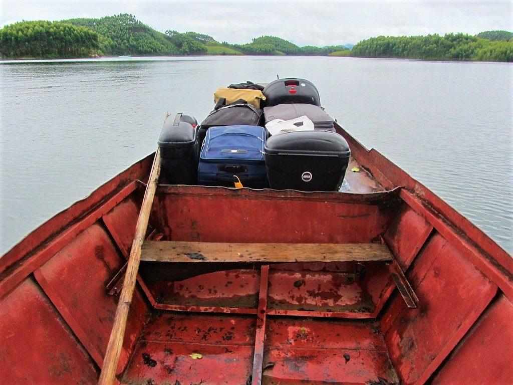 Taking the boat to Vu Linh homestays on Thac Ba Lake, Yen Bai Province, Vietnam