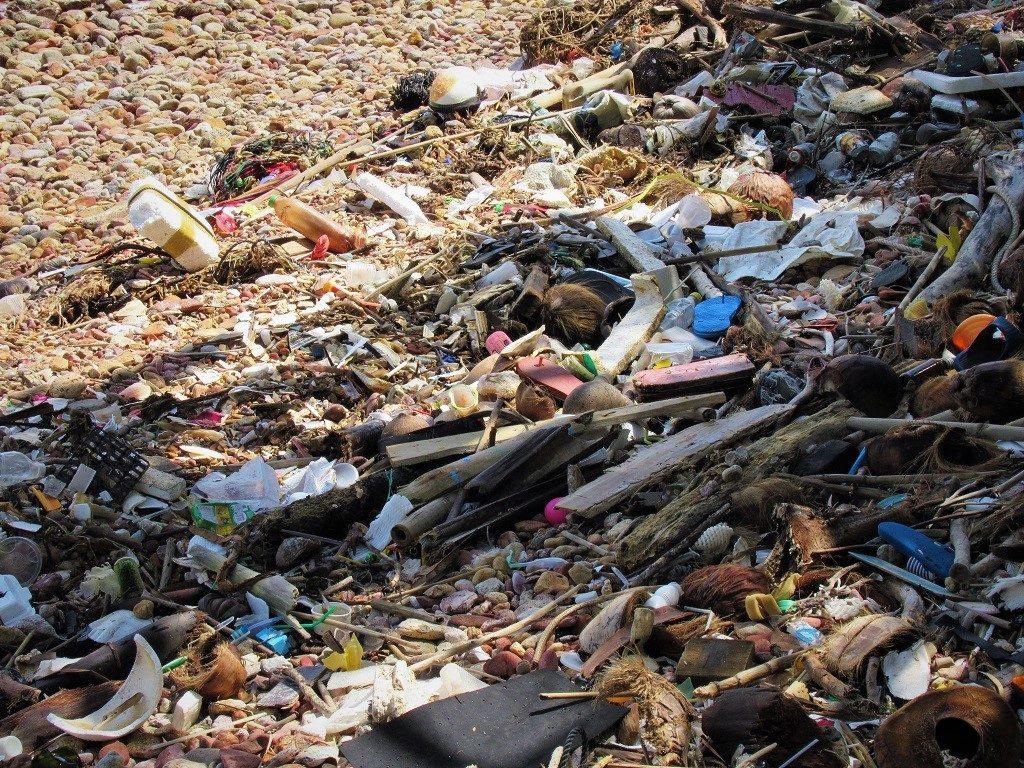 Trash on the beach, Nam Du Islands, Vietnam
