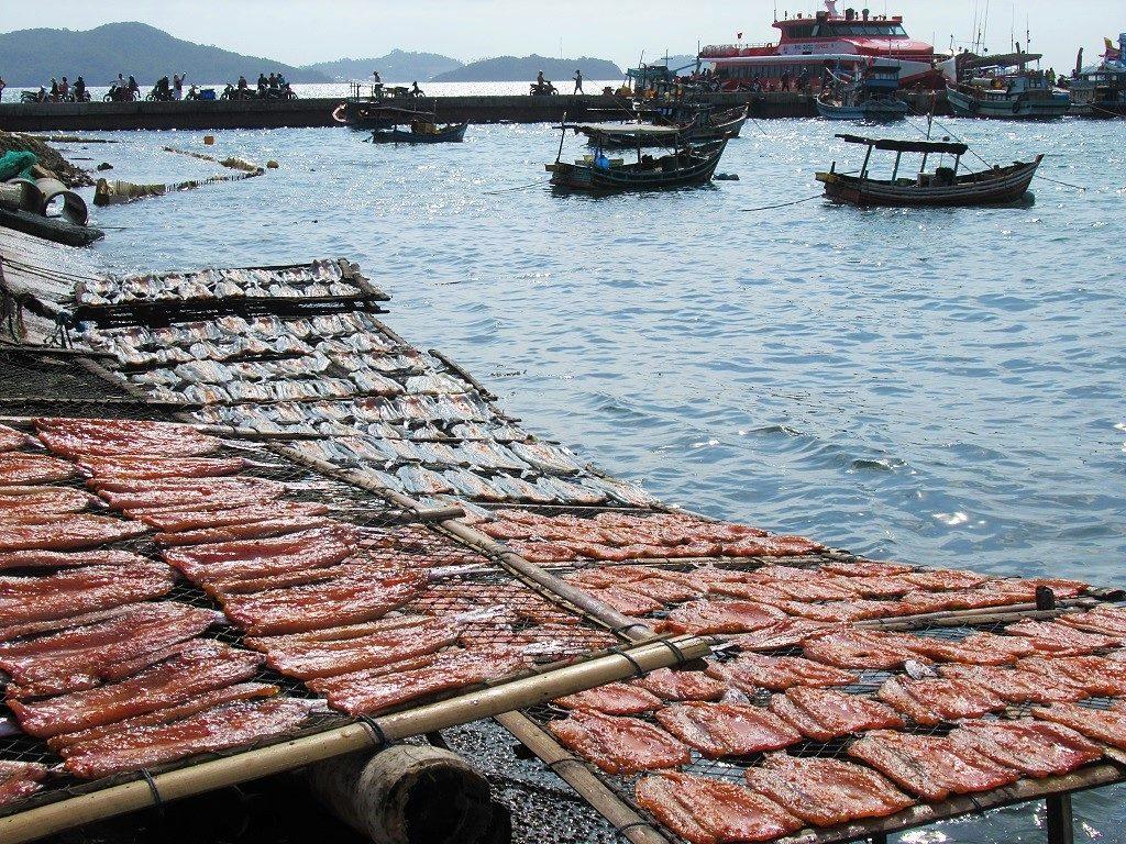 Drying fish, Bai Tret, Nam Du Island, Vietnam