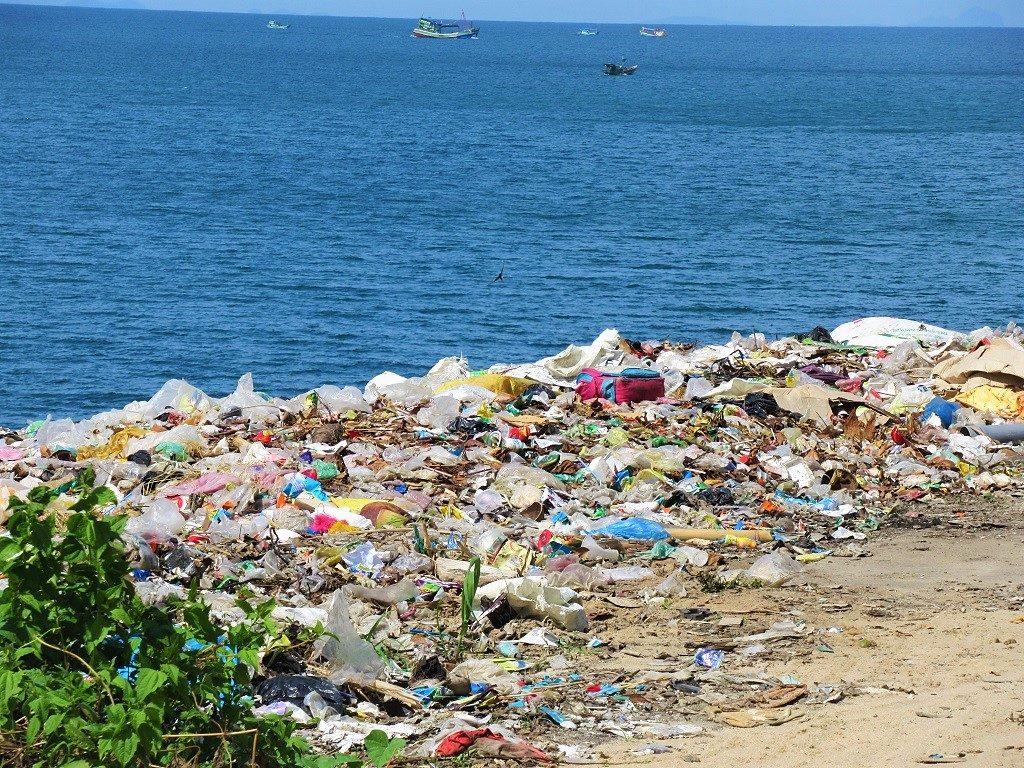 Trash landfill on Hon Son Island, Vietnam
