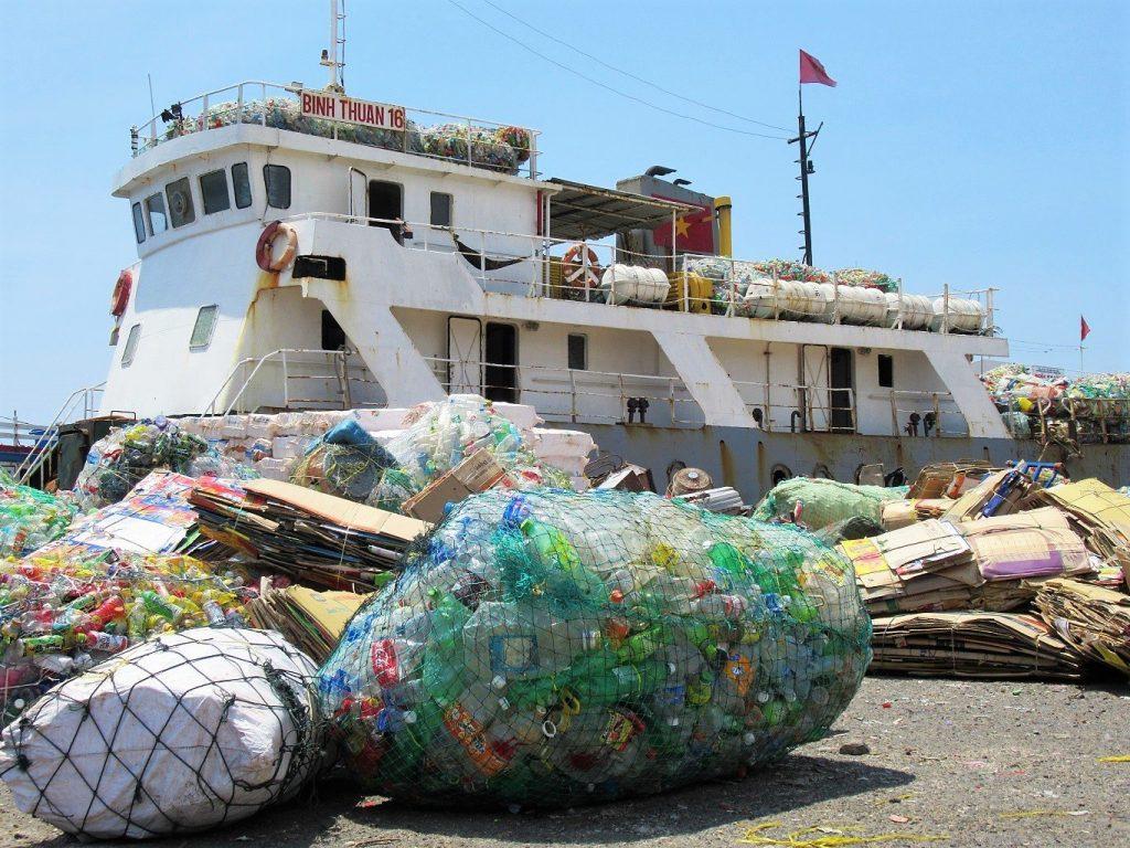 Plastic bottles for recycling, Phu Quy Island, Vietnam