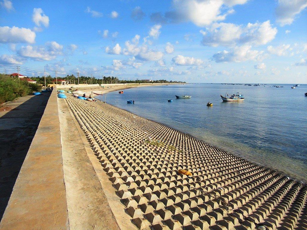 The embankment sea wall, Phu Quy Island, Vietnam