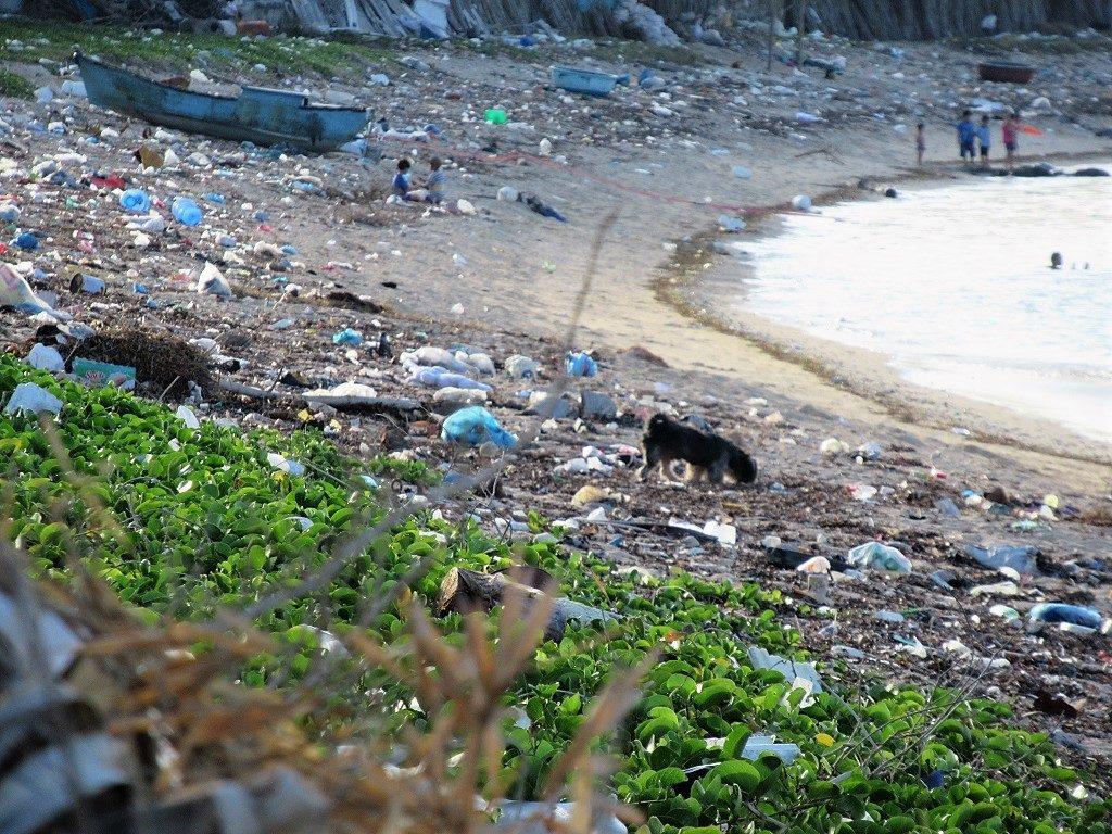 Trash on the beach, Phu Quy Island, Vietnam