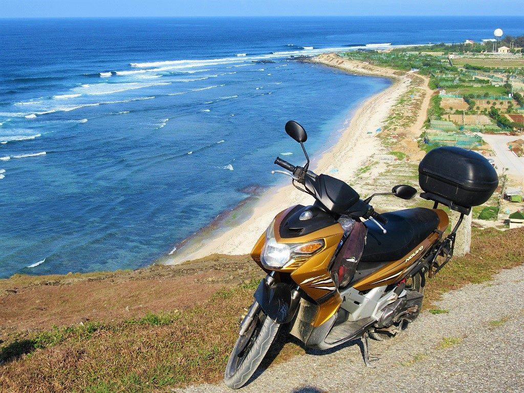 Motorbiking the coast roads, Ly Son Island, Vietnam