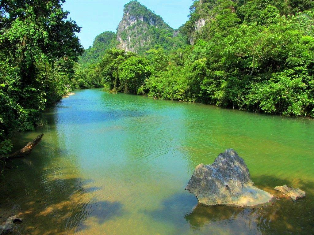 Jade blue river, Ho Chi Minh Road, Quang Binh, Vietnam
