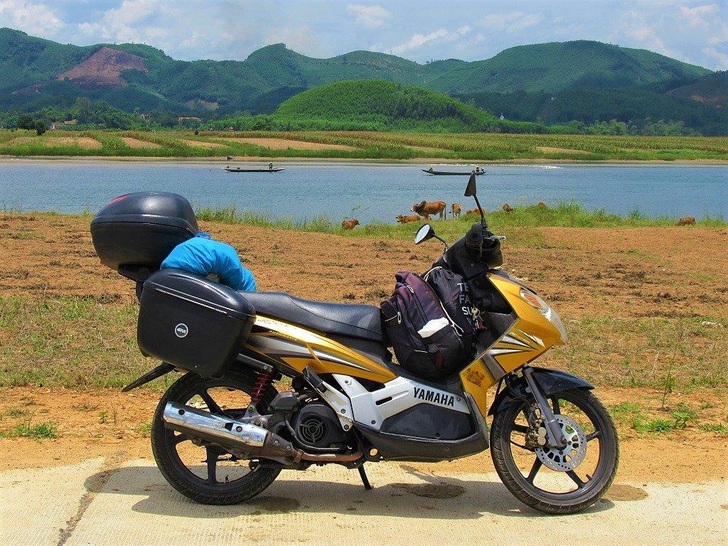 Riding along the river bank, Phong Nha, Vietnam