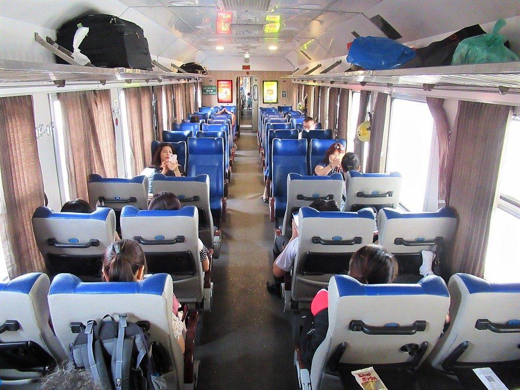 Soft seat class, Hanoi-Haiphong train, Vietnam
