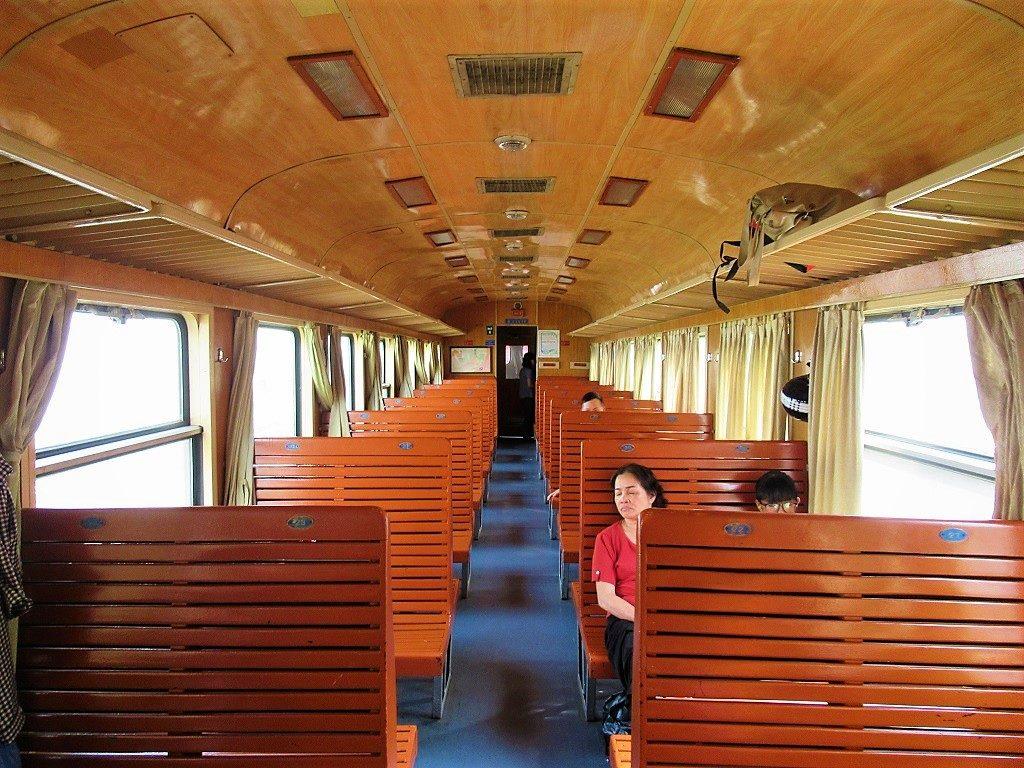 Hard seat class, Hanoi-Haiphong train, Vietnam