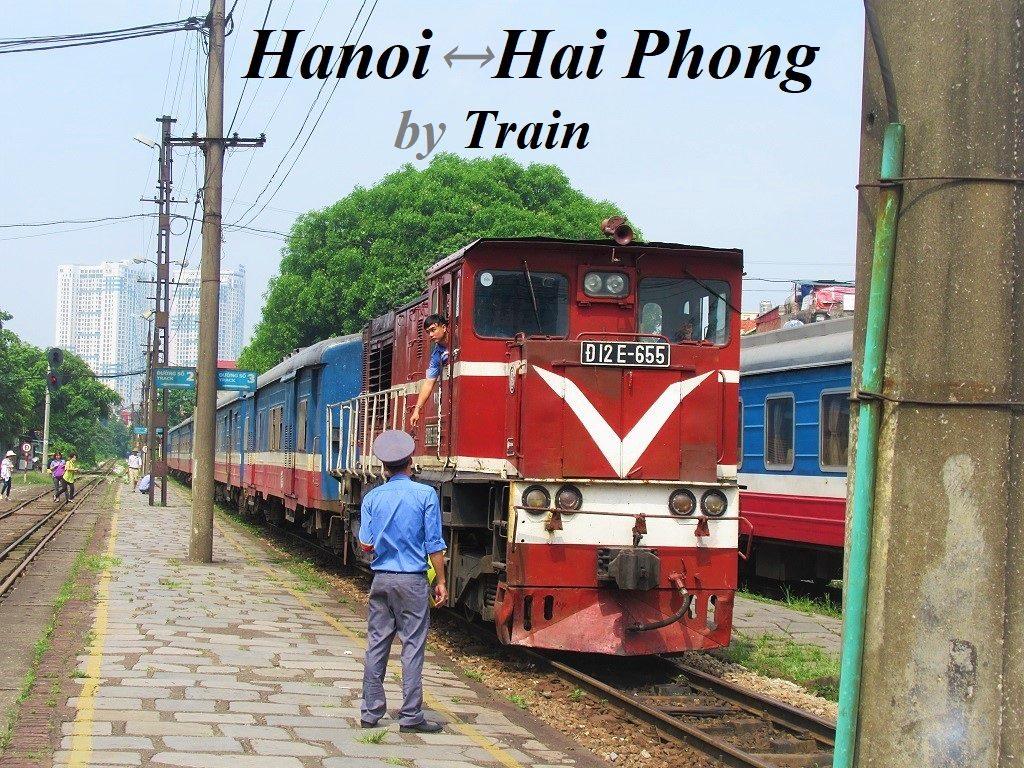 Hanoi to Haiphong by Train: Passengers & Motorbikes